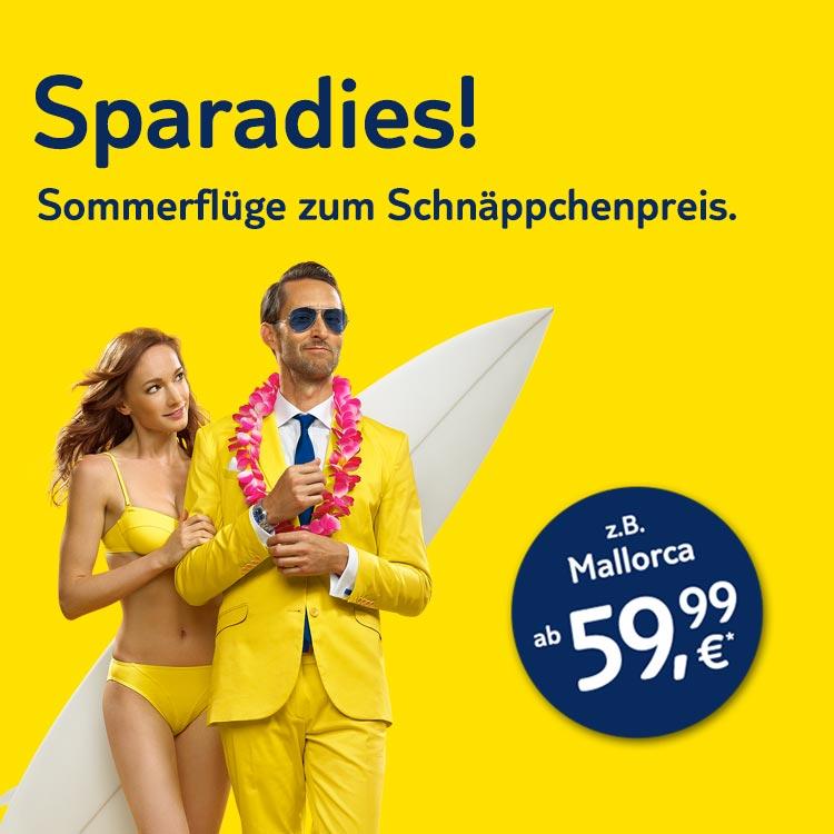 Sparadies: Sommerflüge ab 59,99 €*!